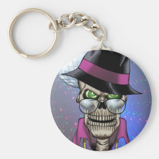 Skull Pimp with Hat, Glasses, Gold Chain and Disco Basic Round Button Keychain