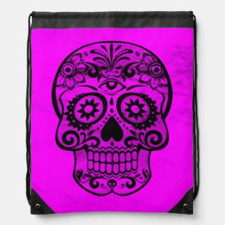 Skull pink 04 drawstring bags