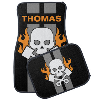 Skull Pistons Flames Grey Race Stripe Personalized Car Mat