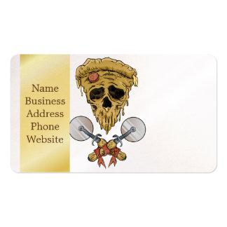 skull pizza slice. business card