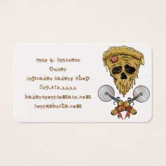 skull pizza slice. business card