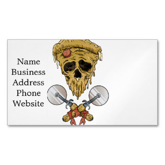 skull pizza slice. magnetic business card