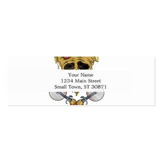 skull pizza slice. mini business card