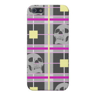 Skull Plaid iphone 4 Hard Case Case For iPhone 5