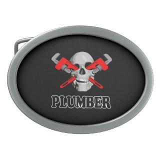 Skull Plumber Oval Belt Buckles
