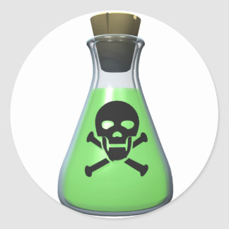 Skull Poison Bottle Classic Round Sticker