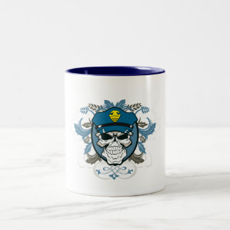 Skull Police Officer Two-Tone Coffee Mug