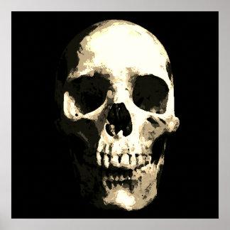 Skull Pop Art Sepia Color Poster
