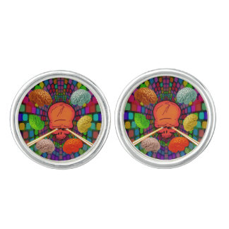 Skull Psychedelic Cuff Links