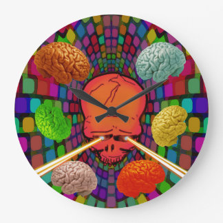 Skull Psychedelic Large Clock