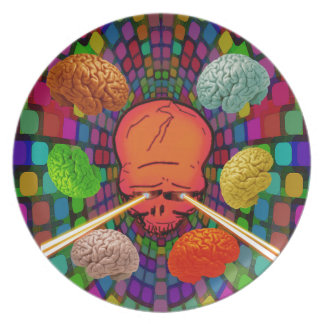 Skull Psychedelic Plate