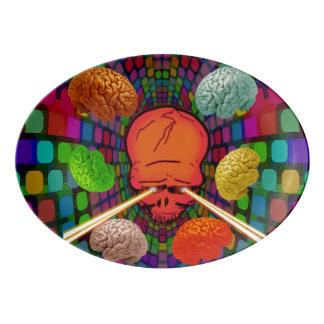 Skull Psychedelic Porcelain Serving Platter