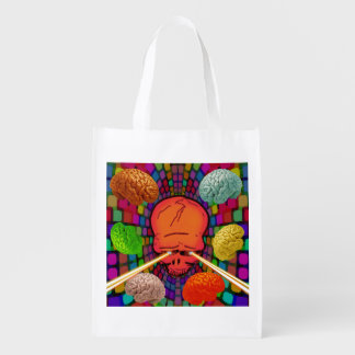 Skull Psychedelic Reusable Grocery Bag