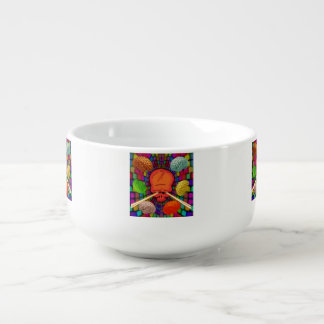 Skull Psychedelic Soup Bowl With Handle