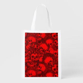 skull punk reusable grocery bag