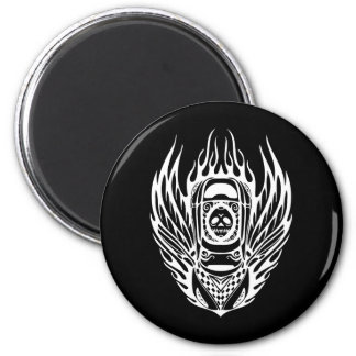 Skull Racing Car 2 Inch Round Magnet
