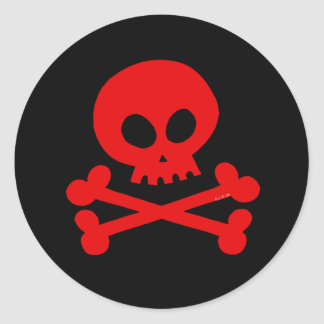 Skull (red) classic round sticker