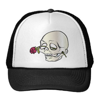 Skull ~ Red Rose 2 Tattoo Skull Fantasy Art Trucker Hat
