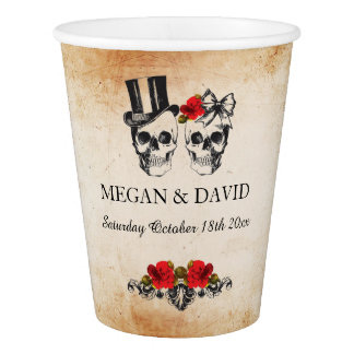 Skull Red Roses Paper Cups Halloween Wedding Paper Cup