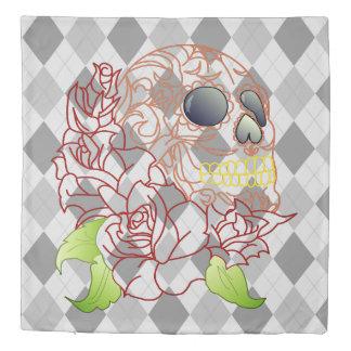 Skull retro argyle print grey  Duvet cover