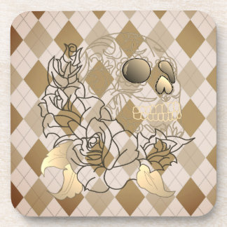 Skull retro argyle yellow brown  set of coasters