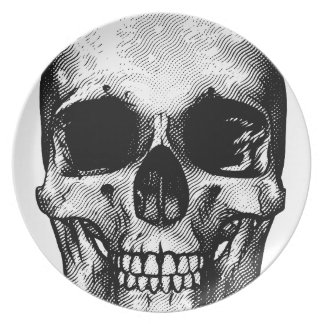 Skull Retro Style Drawing Plate