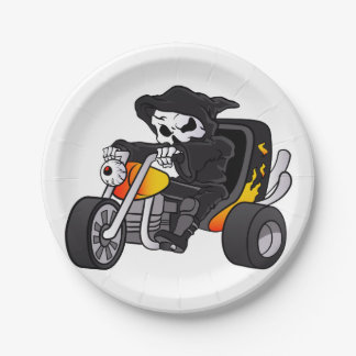 skull ride a big tricycle 7 inch paper plate
