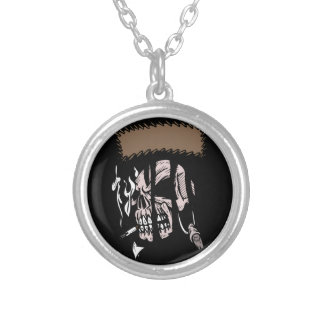 Skull Ripping Round Pendant Necklace