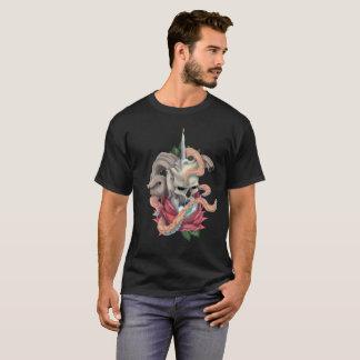 Skull Rose Eyeball Tattoo Design Mens black Tshirt
