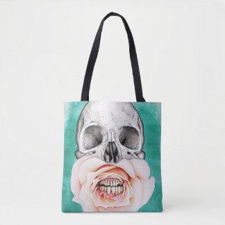 skull rose teeth all over tote bag