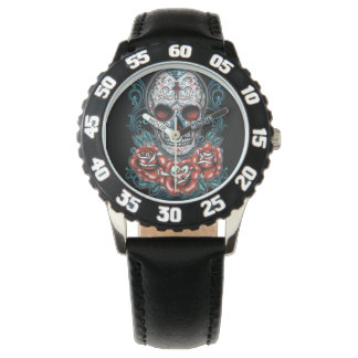 Skull & Roses Bezel with Black Numbers Wristwatch