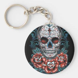 Skull & Roses Button Keychain