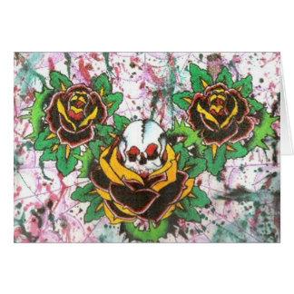 skull roses card