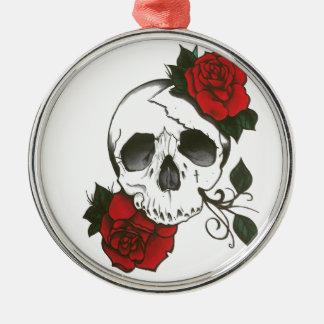 skull roses orament Silver-Colored round ornament