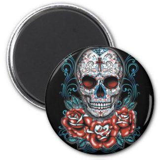 Skull & Roses Round Magnet