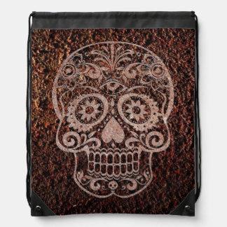 Skull rusty metal 04 backpack