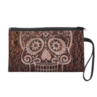 Skull rusty metal 04 wristlet purses