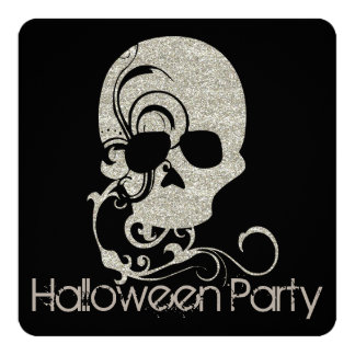 Skull Silver Glitter Look Halloween Party Invite
