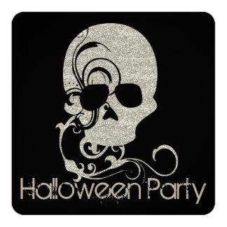Skull Silver Glitter Look Halloween Party Invite