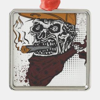 Skull Smoking Metal Ornament