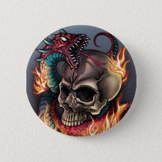 Skull + Snake 2 Inch Round Button