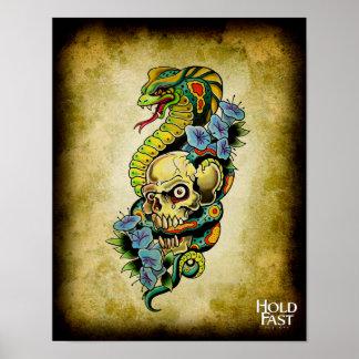 Skull Snake Lillies Poster