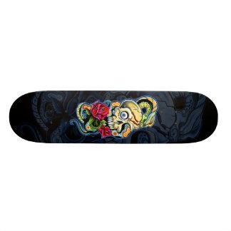 Skull Snake Roses Design Skate Boards