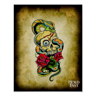 Skull Snake Roses Poster
