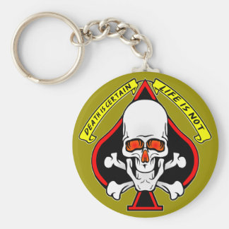 Skull Spade Death Is Certain Life Is Not Keychain
