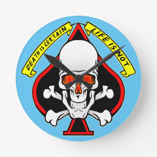 Skull Spade Death Is Certain Life Is Not Wall Clock