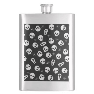 Skull, spider and chest  - Halloween pattern Hip Flask