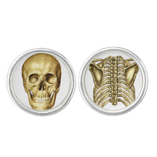 Skull Spine Anatomy Chiropractic Cuff Links