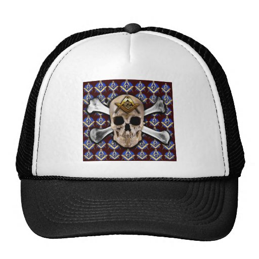 Skull Square & Compass Dark Red Mesh Hat