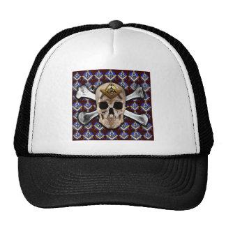 Skull Square & Compass Dark Red Trucker Hat